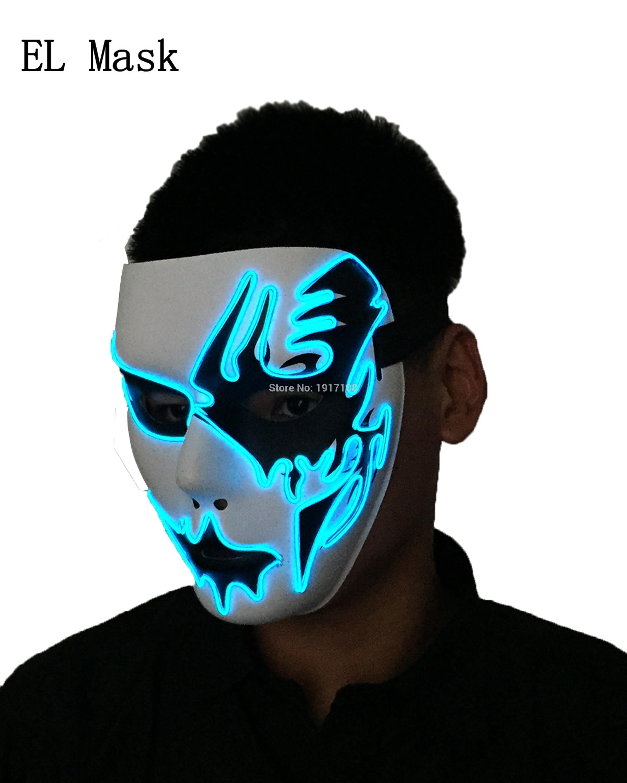 [해외]2017 Hot 빛나는 EL 마스크 10 색상 선택 사운드 활성화 파티 마스크 웨딩 장식 용품에 대 한 생일 선물/2017 Hot glowing EL Mask 10 colors Select Sound Activated Party Mask Birthday Gift