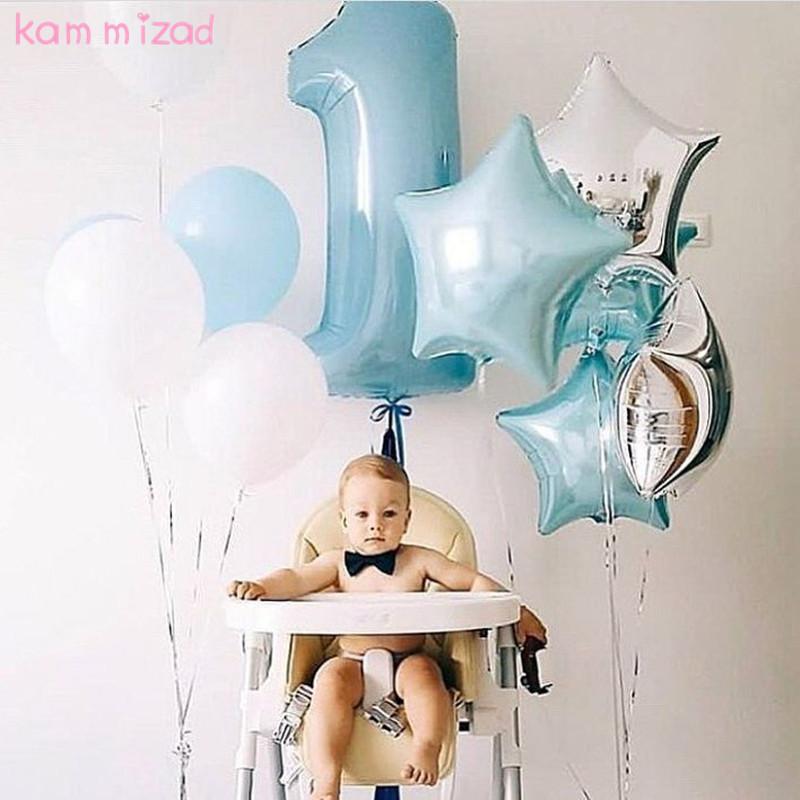 [해외]KAMMIZAD 베이비 1 생일 풍선 핑크 블루 번호 호일 풍선 생일 장식 아이 풍선 파티 b 용품 세트/KAMMIZAD Baby 1st Birthday balloons set pink Blue Number Foil Balloons birthday decorat