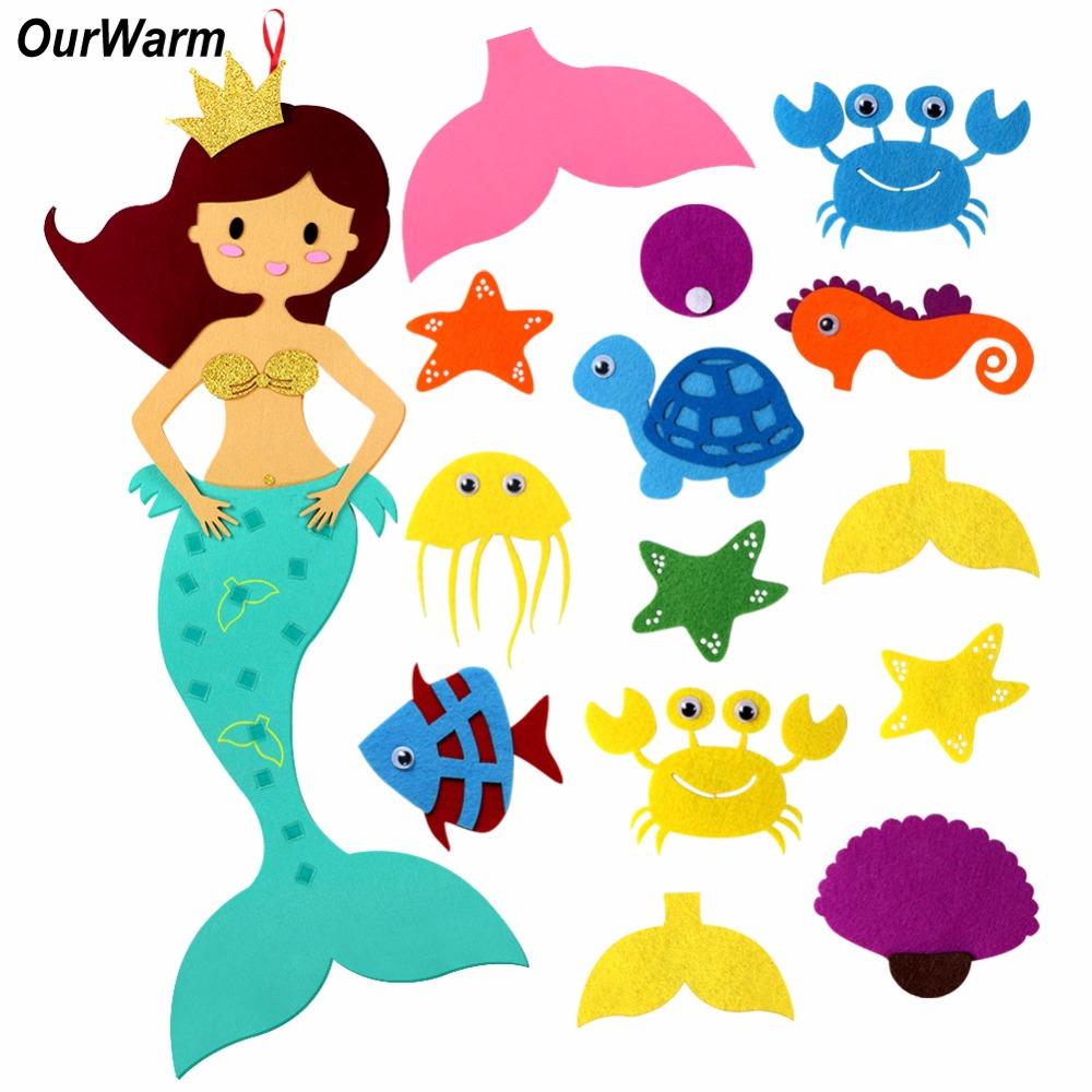 [해외]OurWarm DIY 펠트 인어 파티 게임 생일 파티 DIY 장식 어린이 DIY 공예 용품 Unicorn Party ElementOrnaments/OurWarm DIY Felt Mermaid Party Game Birthday Party DIY Decoratio