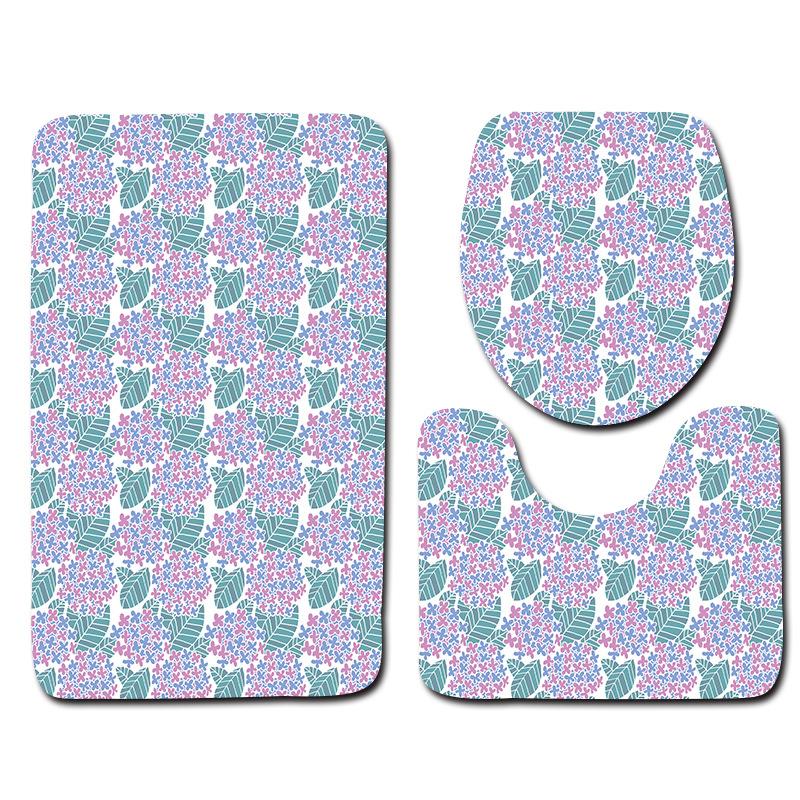 [해외]Honlaker 간단한 꽃 패턴 욕실 화장실 Anti-slip 매트 욕실 도어 매트 화장실 커버 패드 Bath Mats Rugs 3Pcs/Honlaker Simple Flower Pattern Bathroom Toilet Anti-slip Mat Bathroom
