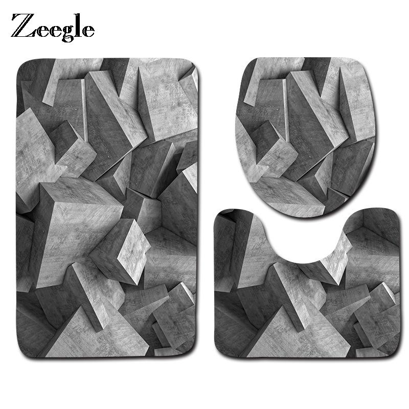 [해외]Zeegle 3PCS 기하학적 무늬 욕실 욕실 매트 세트 미끄럼 방지 플로어 매트 화장실 용 변기 워셔블 변기 커버 쿠션 세트/Zeegle 3PCS Geometric Pattern Bathroom Bath Mats Set Anti-slip Floor Mats T