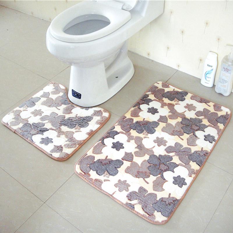 [해외]2pcs / Set 모던 스타일 스톤 욕실 양탄자 화장실 꽃 패턴 목욕 비 - 슬립 매트 부드러운 바닥 카펫 세트 화장실 장식/2Pcs/Set Modern style Stone Bathroom Rug Mats Toilet Flower Pattern Bath No
