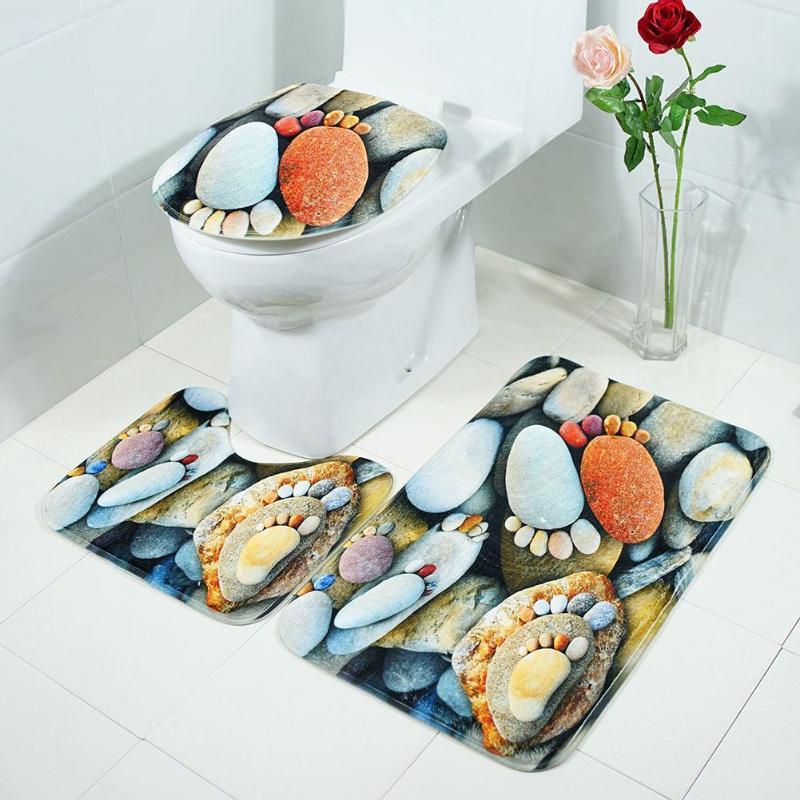 [해외]3pcs / 세트 목욕 매트 욕실 카펫 비 슬립 물 흡수 바닥 깔개 화장실 뚜껑 U 모양 패드 화장실 카펫 욕실 장식/3pcs/set Bath Mats Bathroom Carpet Non Slip Water Absorb Floor Rugs Toilet Lid C