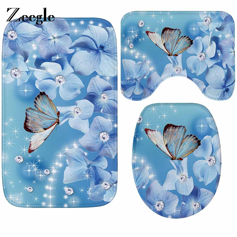 [해외]Zeegle 3pcs 화장실 매트 세트 나비 패턴 욕실 매트 세트 미끄럼 방지 화장실 커버 화장실 러그 샤워 룸 발 패드/Zeegle 3pcs Set Toilet Bath Mat Butterfly Pattern Bathroom Mats Set Anti-slip