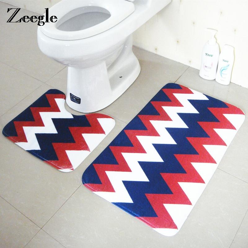 [해외]Zeegle 기하학적 2PCS / 세트 욕실 및 화장실 Anti-slip 마이크로 화이버 목욕 매트 화장실 매트 물 흡수 매트/Zeegle Geometric 2Pcs/set Mats For Bathroom And Toilet Anti-slip Microfiber