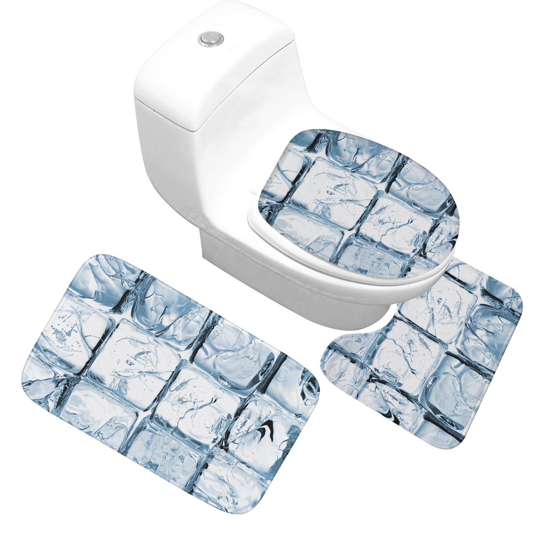 [해외]Honlaker 얼음 여름 패턴 목욕 매트 3 조각 / 세트 플란넬 부드러운 흡수 욕실 안티 - 슬립 매트 화장실 매트/Honlaker Icy Summer Pattern Bath Mat 3 Pieces/sets  Flannel Soft Absorbent Bath