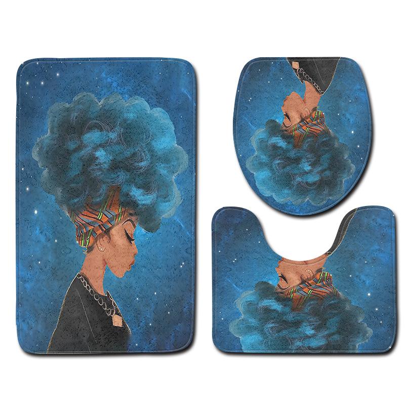[해외]아프리카 여성 시리즈 화장실 화장실 바닥 매트 및 커버 목욕 매트 세트 3 조각 물 흡수 안티 슬립 목욕 화장실 매트 러그/African Woman Series Bathroom Toilet Floor Mat and Cover Bath Mat Sets 3 Piec