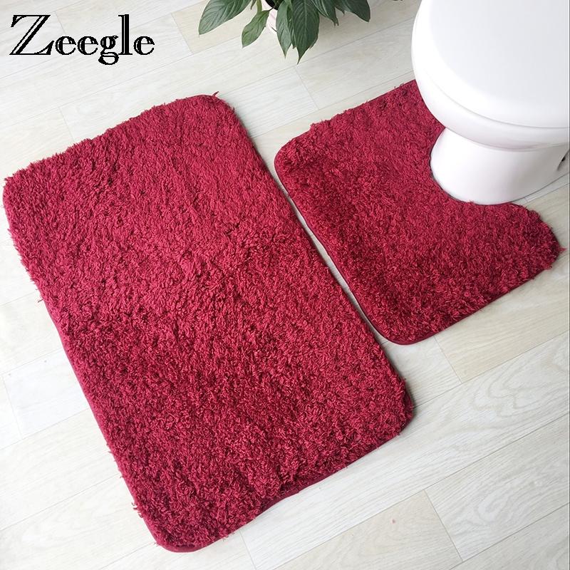 [해외]Zeegle 솔리드 컬러 2pcs 세트 깔개 화장실 및 욕실 안티 - 슬립 매트 욕실 매트 목욕 욕실 카펫을 씻으십시오/Zeegle Solid Color 2Pcs Set Rug For Toilet and Bathroom Anti-slip Rugs Floor Ma