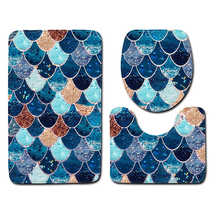 [해외]3pcs 목욕 매트 안티 미끄러운 형상 컬러 패턴 욕실 바닥 매트 및 화장실 매트 세트를 설정합니다./3pcs Bath Mat Sets Anti Slip Geometric Color Pattern Bathroom Floor Mat and Toilet Mat Se