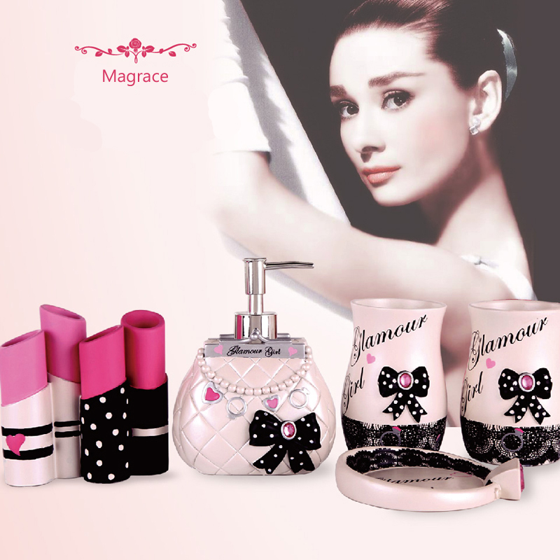 [해외]글래머 소녀 다섯 조각 수 지 욕실 세트 욕실 용품 욕실 액세서리 욕실 홈/Glamour Girl Five Pieces Resin Bathroom Set Bathroom Supplies Bathroom Accessories for Your Home Bathroo