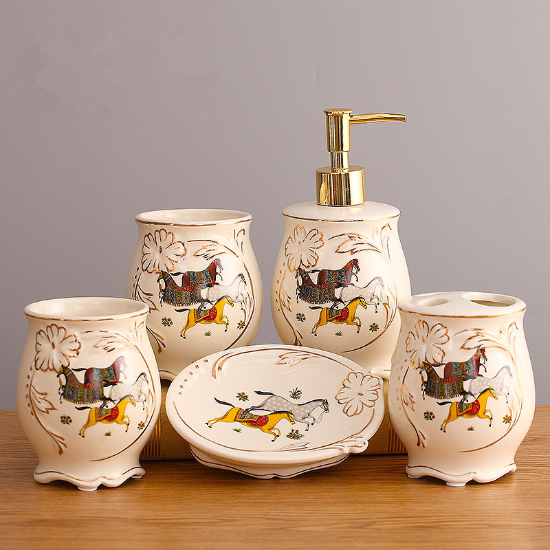 [해외]세라믹 욕실 세트 5 조각 욕실 항목 패션 현대 칫 솔 홀더 욕실 액세서리 가글액 세트/Ceramic Bathroom Set Five Piece Of Bathroom Item Fashion Modern Toothbrush Holder Bathroom Access