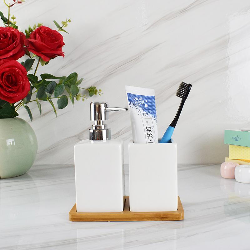 [해외]NEWYEARNEW 세라믹 손 씻기 액체 BottlingCup 우드 패드 호텔 비누 디스펜서 유제 병 욕실 액세서리/NEWYEARNEW Ceramic Hand Washing Liquid BottlingCup  Wood Pad Hotel Soap Dispenser