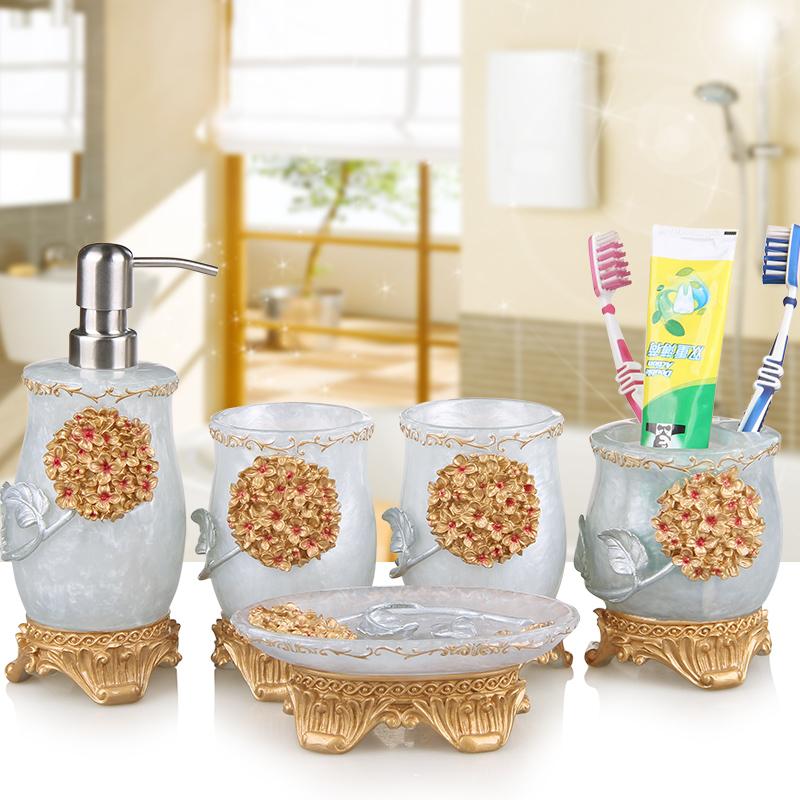 [해외]5PCS 웨딩 욕실 수 지 욕실 액세서리 설정 비누 디스펜서 / 칫 솔 홀더 / 텀블러 / 비누 접시 욕실 제품 설정/5PCS Wedding Bathroom set  resin Bathroom Accessories Set Soap Dispenser/Toothbr