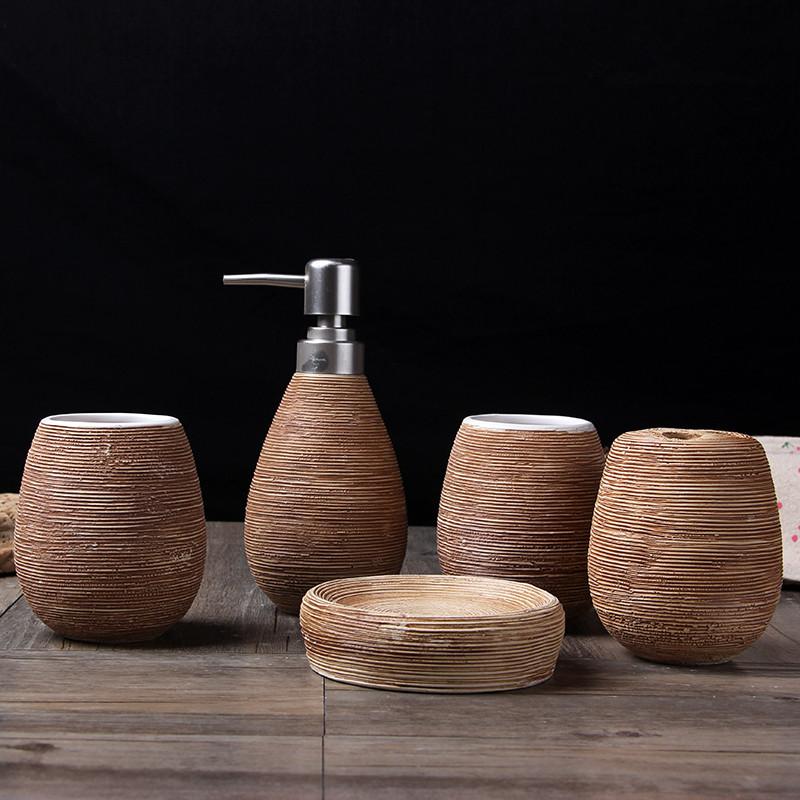 [해외]밀 짚 패턴 욕실 목욕 선물 세트 크리 에이 티브 홈 5pcs / 설정 홈 액세서리 홈 목욕 제품/Straw pattern bathroom bath gift sets creative home 5pcs/set Home accessories home bath pro