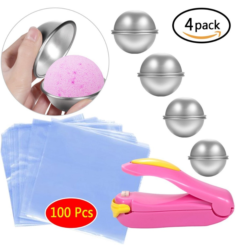 [해외]DIY 금속 목욕 폭탄 금형 4 SetShrink 랩 가방 인치 - 목욕을미니 실러 폭탄 제작, 수제 비누 및 공예/DIY Metal Bath Bomb Mold 4 SetShrink Wrap Bags  Inch - Mini Sealer  for Bath Bomb
