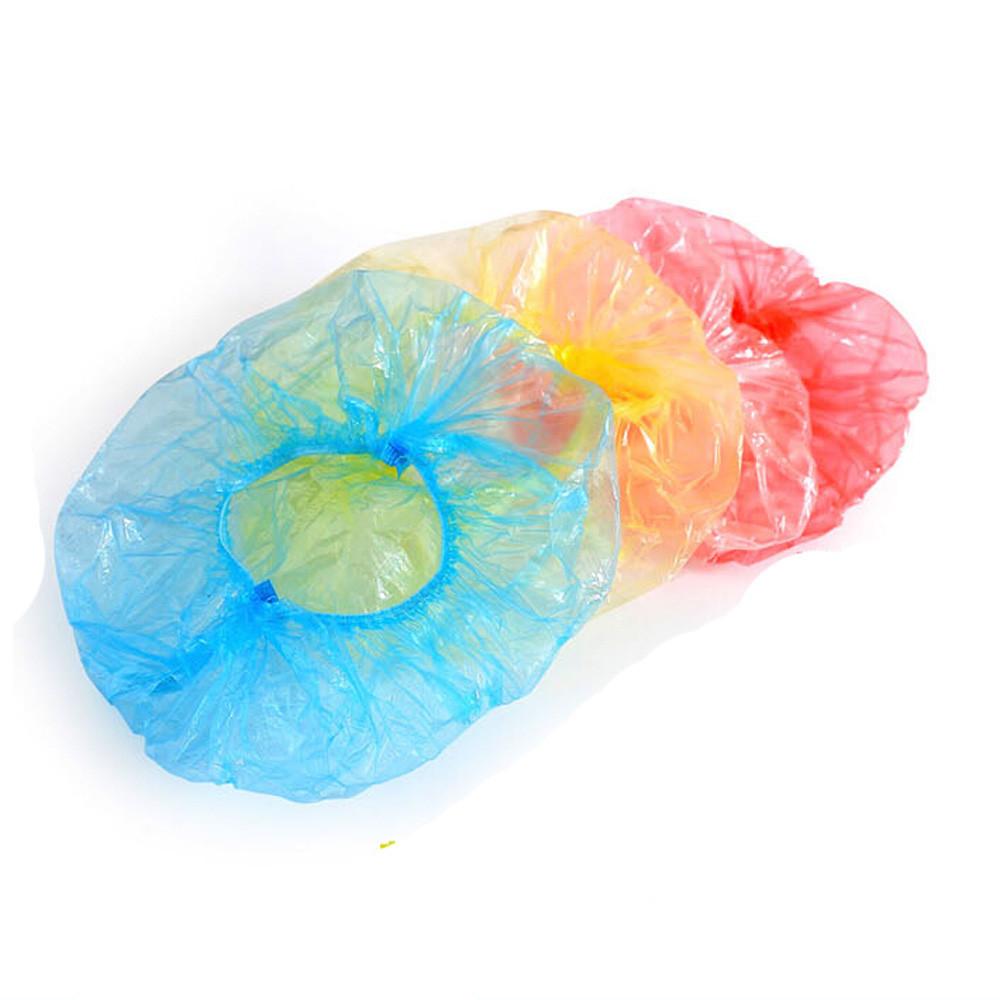 [해외]100pcs 일회용 플라스틱 샤워 목욕 뚜껑 스파 헤어 살롱 안티 먼지 모자 여자 남자 목욕탕 홈 샤워 목욕 편리/100pcs Disposable Plastic Shower Bath Caps Spa Hair Salon Anti Dust Hat Women Men