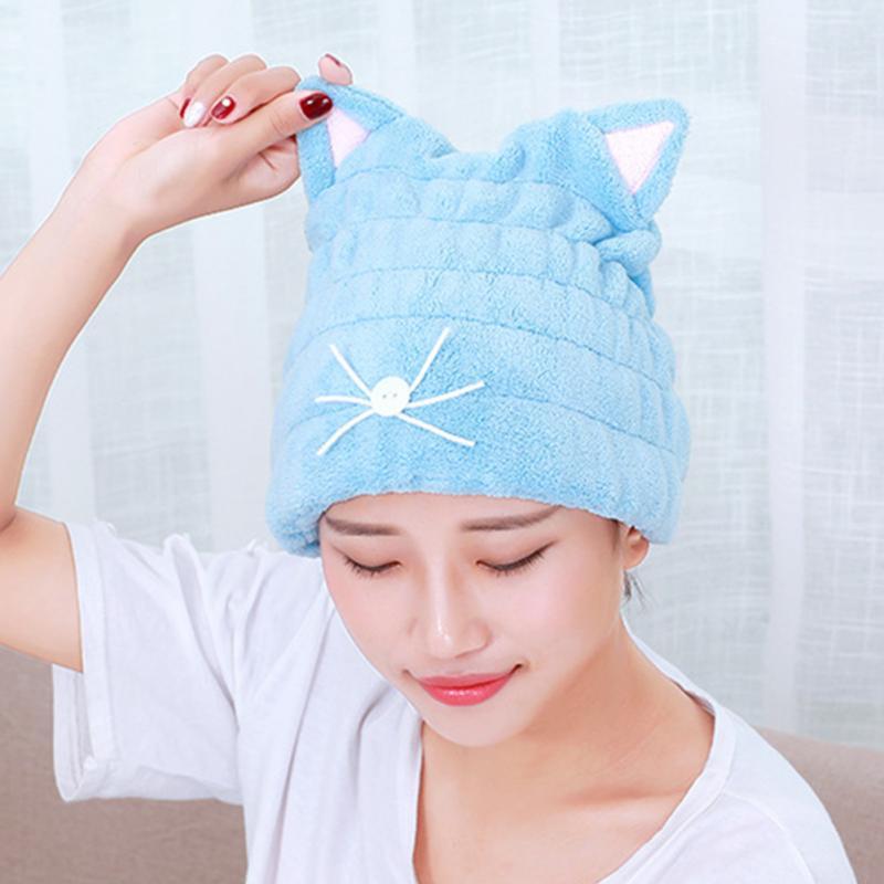 [해외]귀여운 고양이 귀 여자 욕실 슈퍼 흡수 속건 산호 양털 목욕 타올 헤어 드라이 캡/Cute cat ears Women Bathroom Super Absorbent Quick-drying coral fleece Bath Towel Hair Dry Cap
