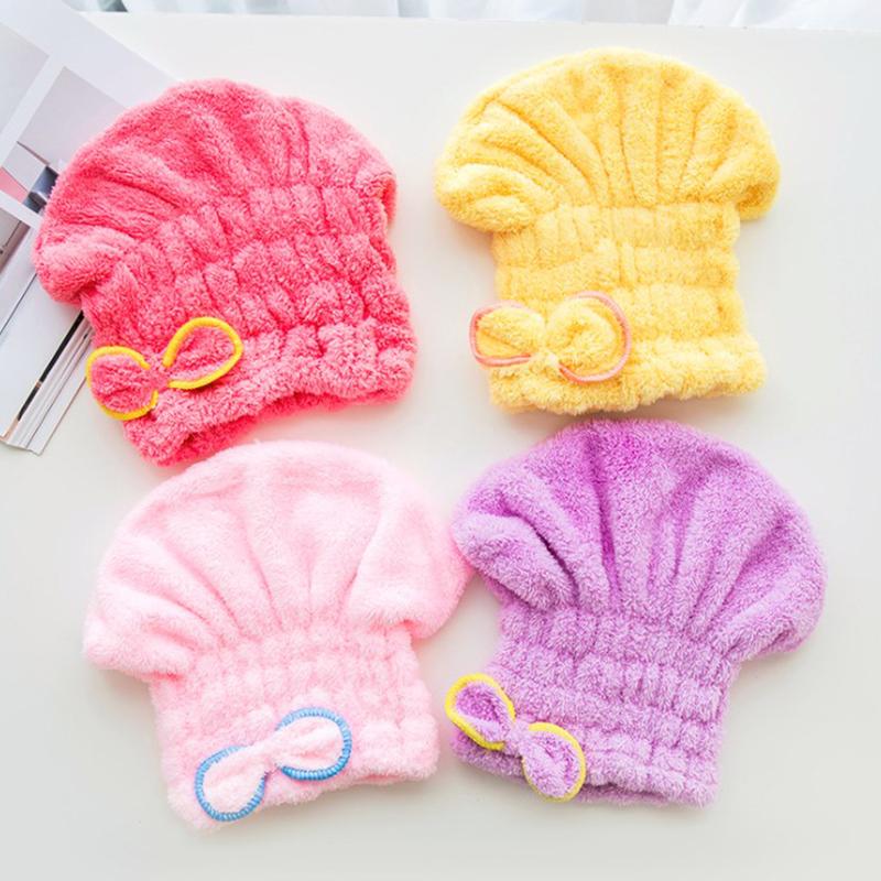 [해외]보우 짙어지기 건조 섬유 모발 모자 흡수 흡수 샤워 캡 마른 수건 머리띠/Bow Thickening Dry Fiber Hair Cap Water Absorbing Shower Cap Dry Hair Towel Headband