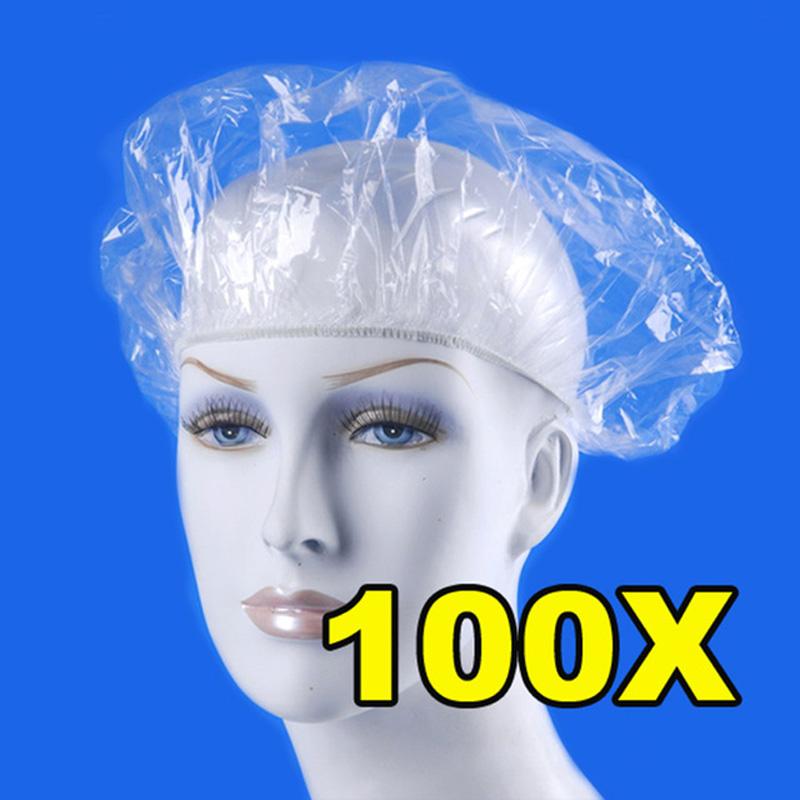 [해외]100Pcs / Lot 일회용 샤워 캡 여성 남성 플라스틱 모자 목욕 모자 스파 살롱 클리어 호텔 샤워 목욕 모자/100Pcs/Lot Disposable Shower Cap Women Men Plastic Hat Bath Caps for Spa Hair Salo