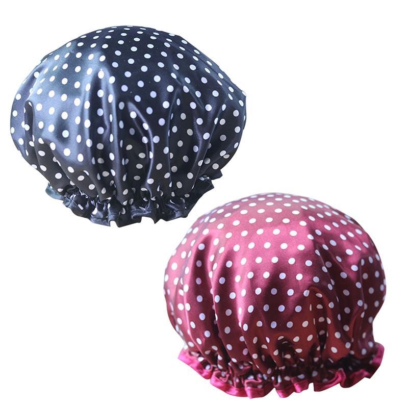 [해외]LUOEM 2pcs 목욕 모자 새틴 더블 데크 소프트 방수 빨 샤워 캡 머리카락 보호용 모자 목욕 및 사우나 용/LUOEM 2pcs Bath Cap Satin Double-Deck Soft Waterproof Washable Shower Cap Hair Prot