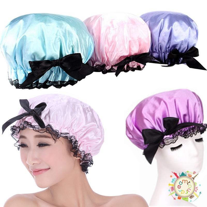 [해외]?1pcs 샤워 모자 사랑스러운 두꺼운 여자 샤워 새틴 모자 다채로운 목욕 샤워 모자 헤어 커버 방수 입욕 모자/ 1pcs Shower Hat  Lovely Thick Women Shower Satin Hats Colorful Bath Shower Caps Ha