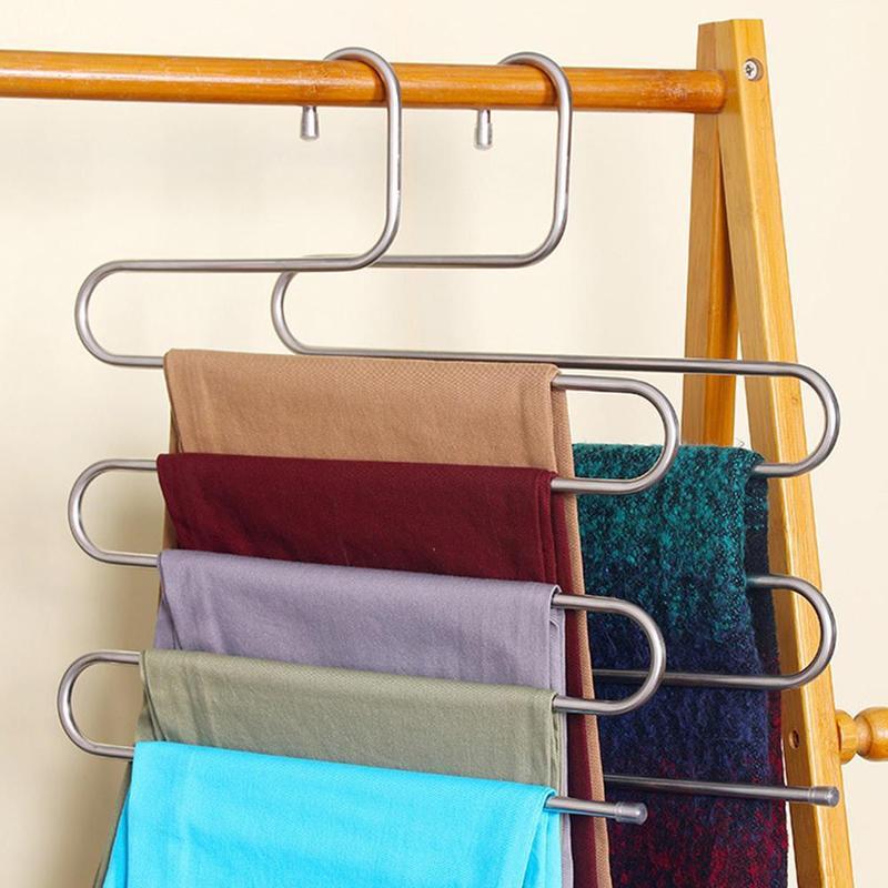 [해외]새로운 매직 스테인레스 스틸 바지 옷걸이 다기능 바지 옷장 벨트 홀더 랙 S 형 5 레이어 저장 공간 LKO1700/New Magic Stainless Steel Trousers Hanger Multifunction Pants Closet Belt Holder