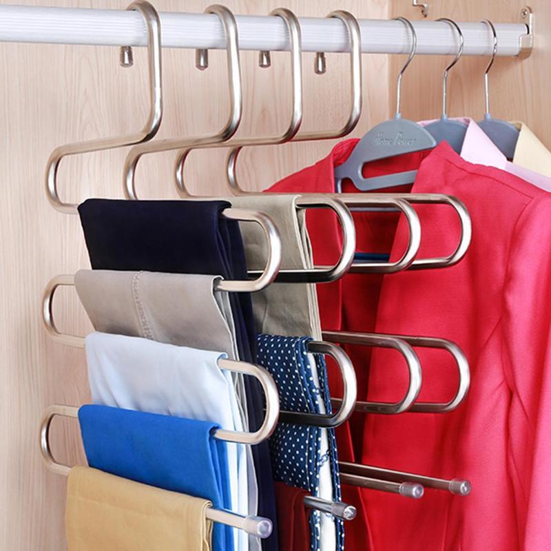 [해외]새로운 매직 스테인레스 스틸 바지 옷걸이 다기능 바지 옷장 벨트 스카프 홀더 랙 S 형 5 층 공간 옷걸이 절약/New Magic Stainless Steel Trousers Hanger Multifunction Pants Closet Belt Scarf Hol