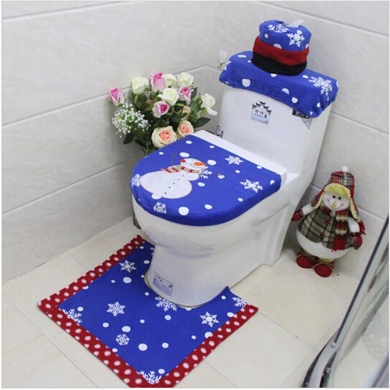 [해외]3pcs / set 크리스마스 욕실 제품 크리스마스 장식 푸른 눈사람 화장실 좌석 커버와 러그 욕실 새해 홈 장식/3pcs/set Christmas Bathroom Products Xmas Decoration Blue Snowman Toilet Seat Cove
