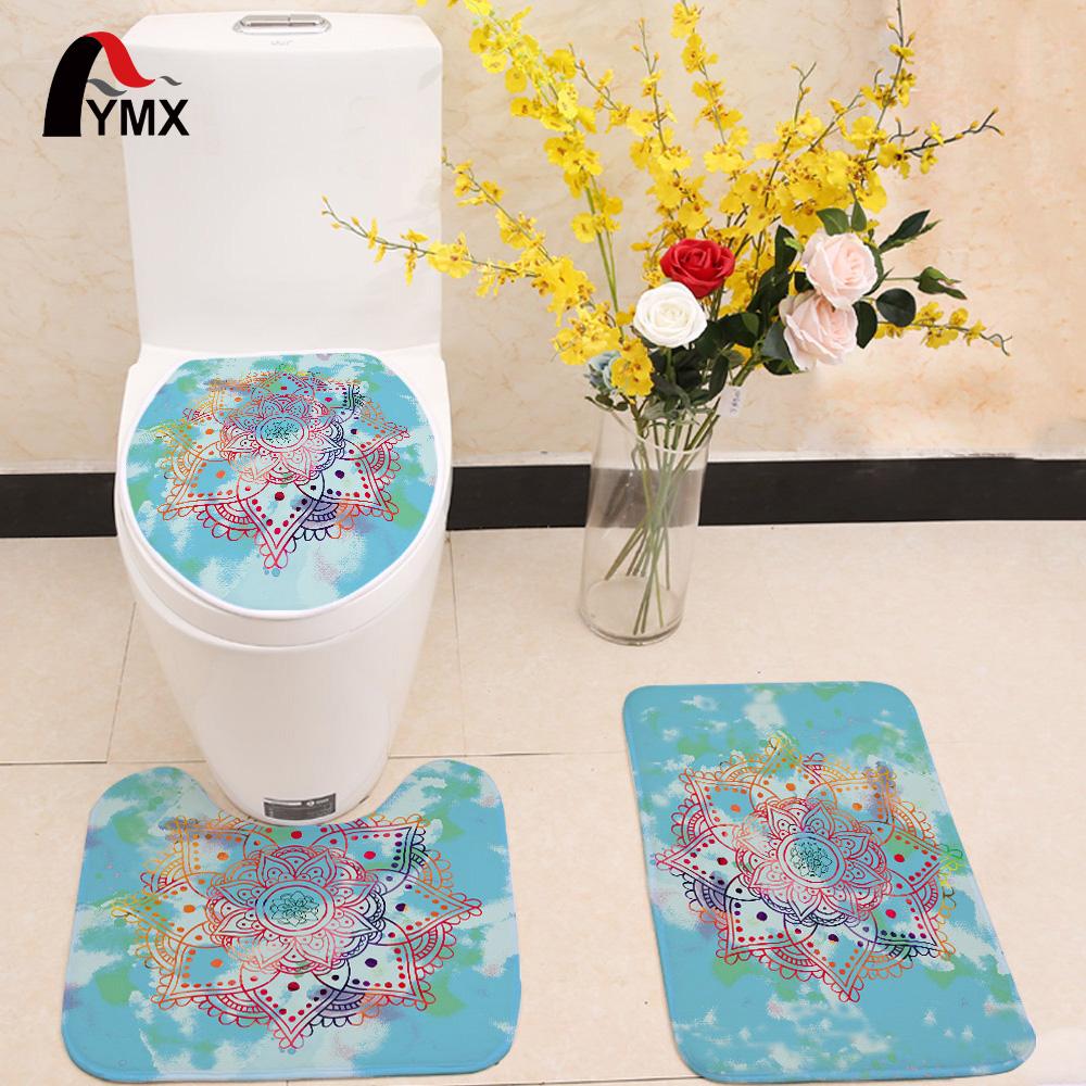 [해외]3pcs / set 만다라 인쇄 화장실 좌석 커버 플란넬 패브릭 화장실 케이스 만다라 논 슬립 욕실 매트 제품 홈 ??장식/3pcs/set Mandala Printing Toilet Seat Cover Flannel Fabric Toilet Case Mandal