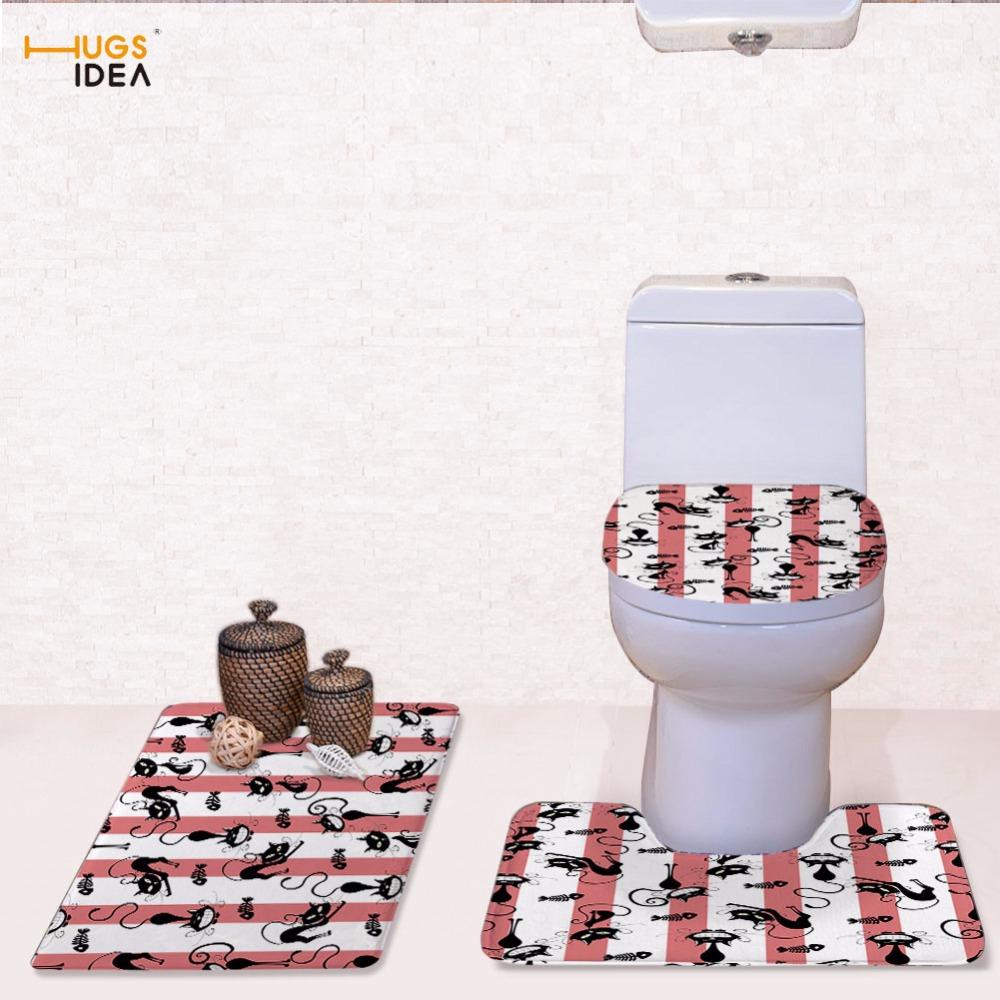 [해외]HUGSIDEA 만화 고양이 화장실 좌석 커버 Closestool 뚜껑을 매트 양동이 화장실 장식 빨 래 욕실 샤워 욕조 깔 개 3 조각/HUGSIDEA Cartoon Cat Toilet Seat Covers Closestool Lid Pads Mats Toil