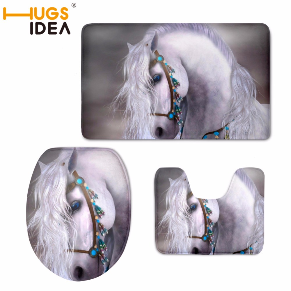 [해외]HUGSIDEA 말 패턴 화장실 좌석 커버 논슬립 목욕 용품 3pcs / set 가정 장식 따뜻하게 부드러운 욕실 깔개 세트/HUGSIDEA  Horses Pattern Toilet Seat Cover Non-slip Bath Accessery 3pcs/set