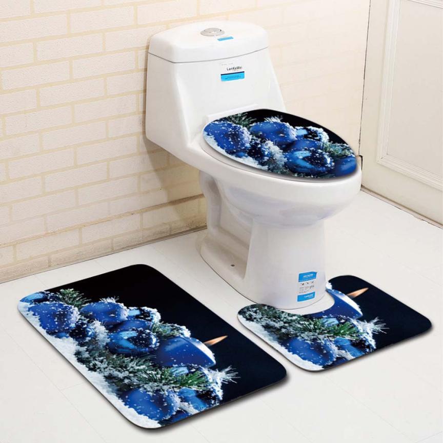 [해외]3PCS 멋진 산타 화장실 좌석 커버와 양탄자 욕실 세트 크리스마스 장식 GHE5/3PCS Fancy Santa Toilet Seat Cover and Rug Bathroom Set Christmas Decor GHE5