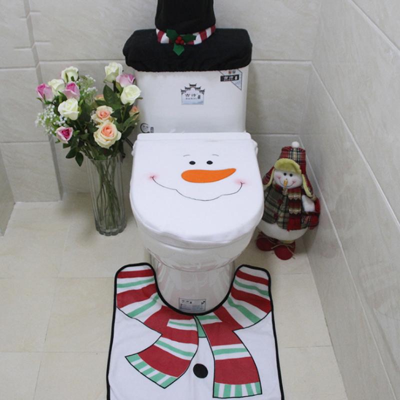 [해외]산타 화장실 좌석 커버와 카펫 욕실 정장 화장실 커버 + 패드 + 워터 탱크 커버 + 종이 타월 휴일 호텔 홈 인테리어/Santa Toilet Seat Cover And Carpet Bathroom Suit Toilet Cover+pad+water Tank Co