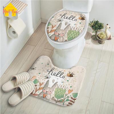 [해외]니스 화장실 좌석 커버 플란넬 2pcs / set 욕실 만화 wc 커버 목욕 매트 홈 토끼 프린터 두께 부드럽고 쉬운 청소 충족/Meet Nice Toilet Seat Cover Flannel 2pcs/set Bathroom Cartoon wc Cover Bat
