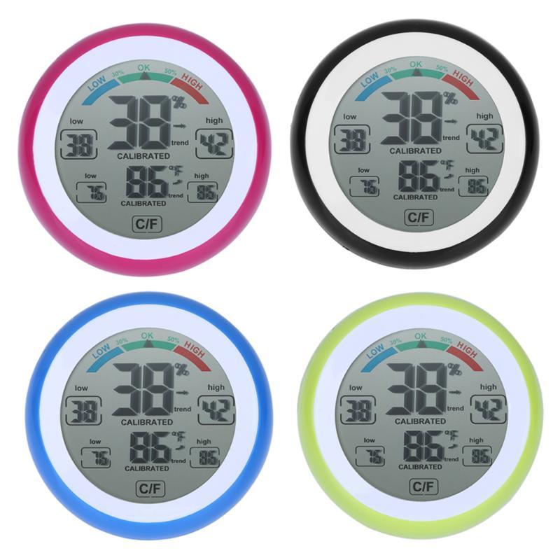 [해외]라운드 LCD 터치 스크린 실내 온도 습도계 날씨 역 디지털 백라이트 터치 스크린 시간 시계 온도계/Round LCD Touchscreen Indoor Temperature Hygrometer Weather Station Digital Backlight Touc