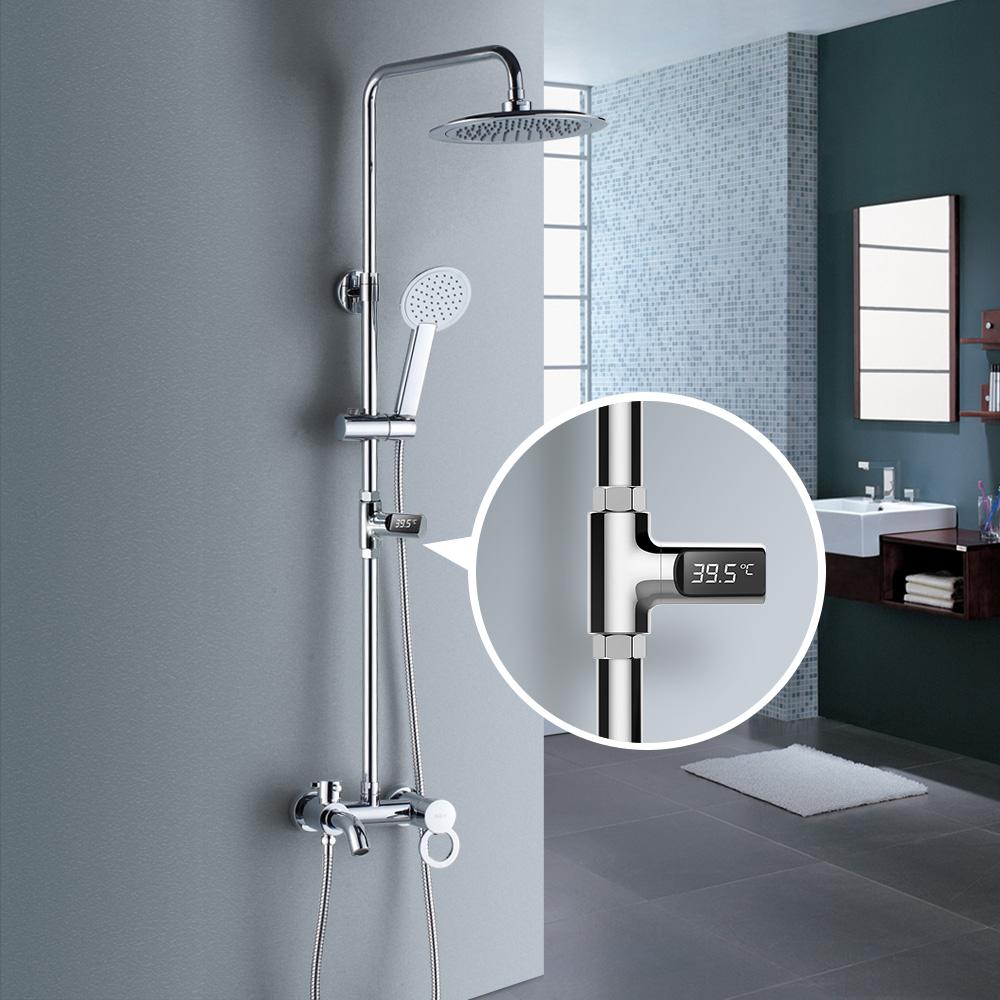 [해외]원래 LED 디스플레이 물 샤워 온도계 흐름 자기 생성 전기 물 온도 측정기 모니터 베이비 케어에 대 한/Original LED Display Water Shower Thermometer Flow Self-Generating Electricity Water Te