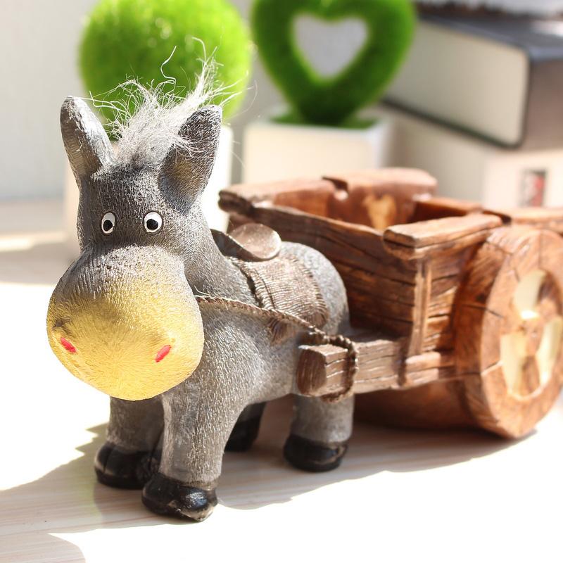 [해외]휴대용 수지 동키 카트 그라인딩 재떨이 시가 애쉬 트레이 담배 홀더 가정 인형 예술 작품 남자 & 여자 선물 홈 인테리어/Portable Resin Donkey Carts Grinding Ashtray Cigar Ash Tray Cigarette Hold
