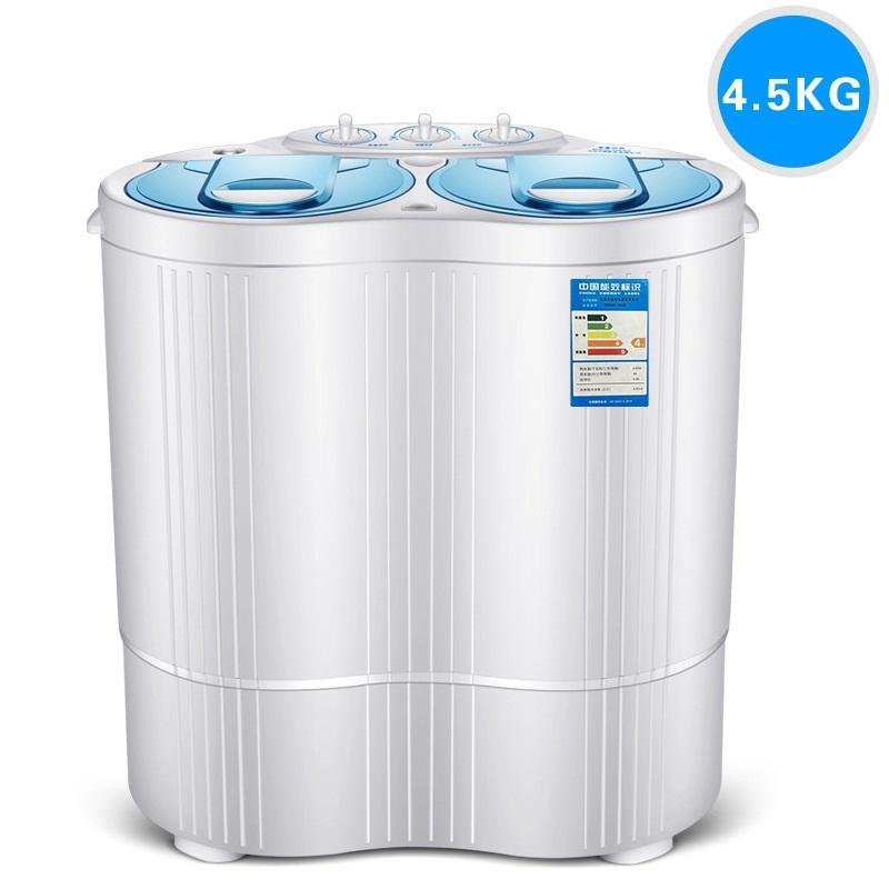 [해외]230w 힘 소형 세탁기는 세탁 할 수있다 4.5kg 옷 + 130w 힘 3kg 탈수 트윈 욕조 정상 로딩 와셔 및 건조기 SEMI-AUTOMATIC/230w power Mini washer can wash 4.5kg clothes+130w power 3kg d