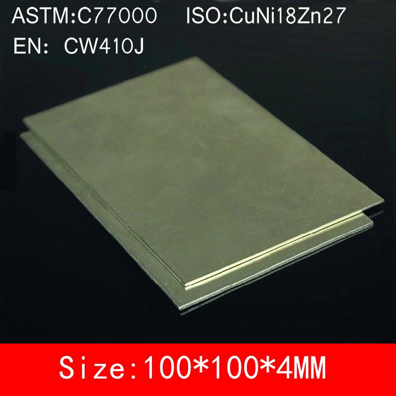 [해외]4 * 100 * 100mm 구리 도금 강판 C77000 CuNi18Zn27 Cu55 % Ni18 % Zn27 % BZn18-26 합금 ISO 인증/4*100*100mm Cupronickel Copper Sheet Plate Board of C77000 CuNi