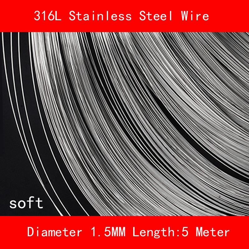 [해외]316L 스테인레스 스틸 와이어 소프트 직경 1.5mm 길이 5 미터/316L Stainless steel wire soft Diameter 1.5mm Length 5 meter