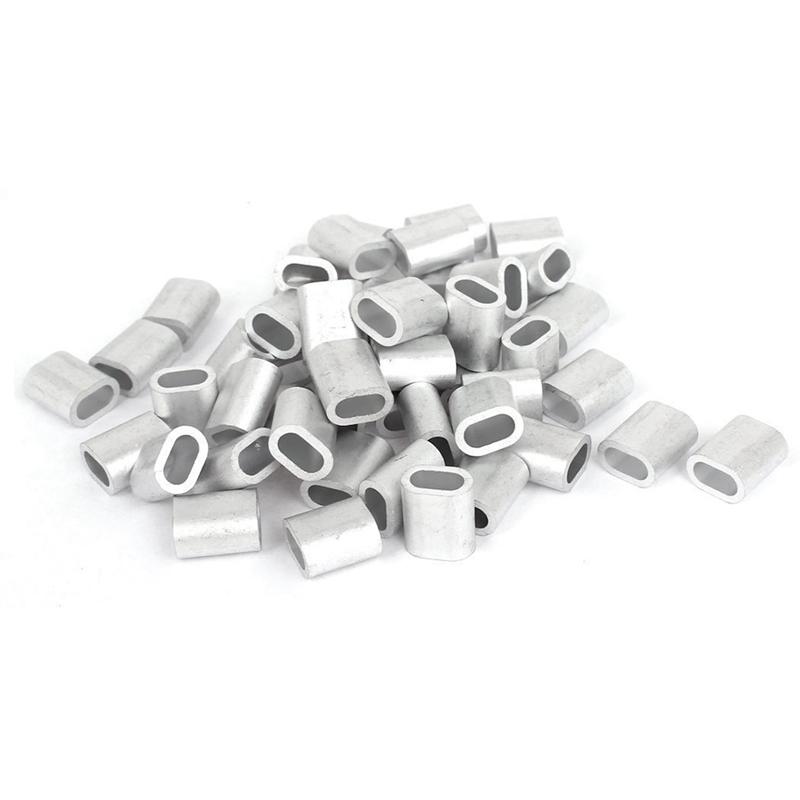 [해외]4mm 와이어 로프 알루미늄 페룰 슬리브 실버 톤 50 개/4mm Wire Rope Aluminum Ferrules Sleeves Silver Tone 50 Pcs