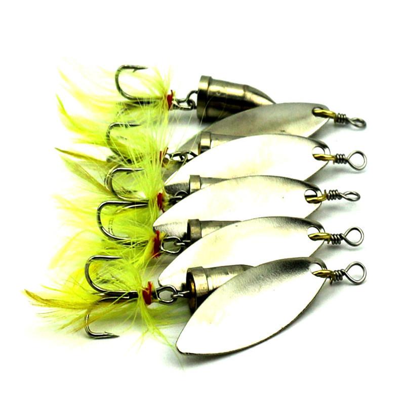 [해외]5 PCS / 로트 와이어 깃털 미끼 스피너 낚시 미끼 하드 루어 5 PCS / 로트 5cm 6g 금속 6 강화 후크/5 PCS/Lot  Wire Feather Bait Spinner Fishing Lures Hard Lure 5 PCS/Lot 5cm 6g me