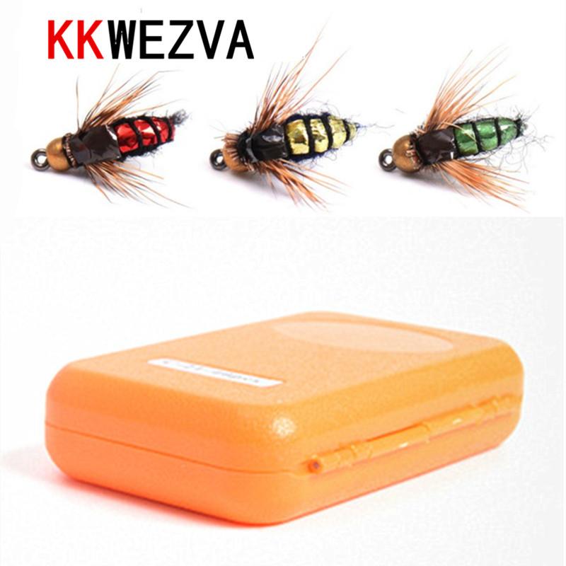 [해외]KKWEZVA 40pcs 플라이 낚시 루어 후크 및 상자 꿀벌 곤충 스타일 연어 파리 송어 단일 드라이 플라이 낚시 호수 낚시 태클/KKWEZVA 40pcs Fly fishing Lure Hooks And box Bee Insects Style Salmon Fl