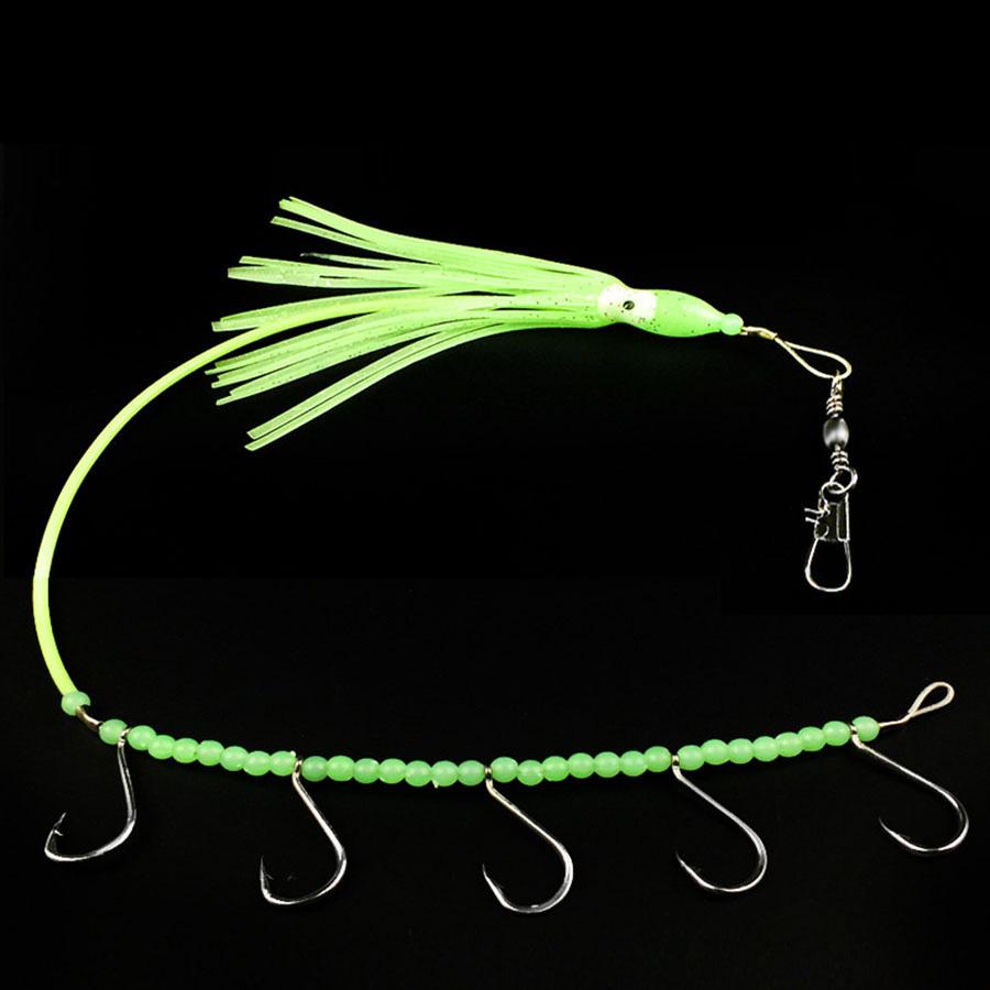 [해외]3PCS 부드러운 빛나는 오징어 낚시 미끼 와이어 선 오징어 낚시 구슬 및 낚시 후크 길이 330mm 오션 보트 낚시/3PCS Soft Luminous Squid Fishing Bait Wire Line Cross the Squid Fishing beads an