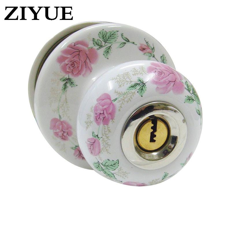 [해외]?현대 스타일 핑크 작약 꽃 전체 세라믹 볼 잠금 목가적 인/ Modern Style Pink Peony Flower Full Ceramic Ball Lock Pastoral