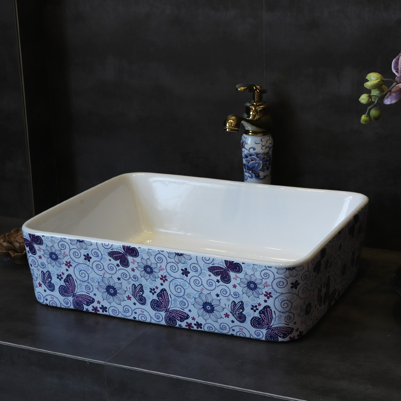 [해외]사각형 나비 욕실 세라믹 싱크  씻어 분지 세라믹 카운터 상단 씻어 분지 욕실 싱크대 화장실 싱크대/Rectangular butterfly Bathroom ceramic sinks china wash basin Ceramic Counter Top Wash Bas