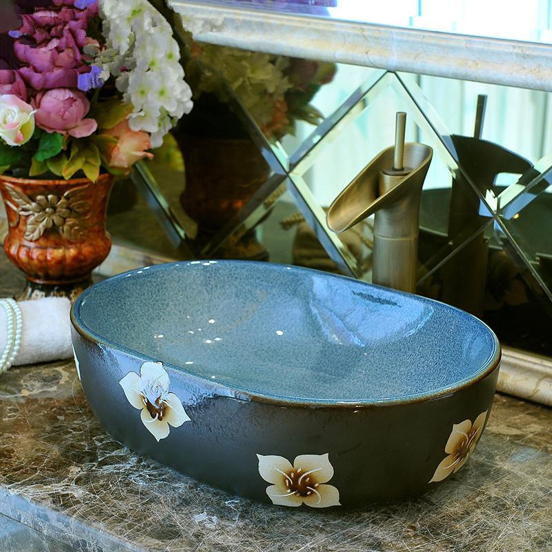 [해외]유럽 ??스타일 수제 수조 세라믹 씻어 분지 욕실 분지 욕실 싱크 도자기 욕실 그릇 싱크 타원형/Europe Style Handmade Countertop Ceramic wash basin Bathroom Basin Bathroom Sink porcelain b