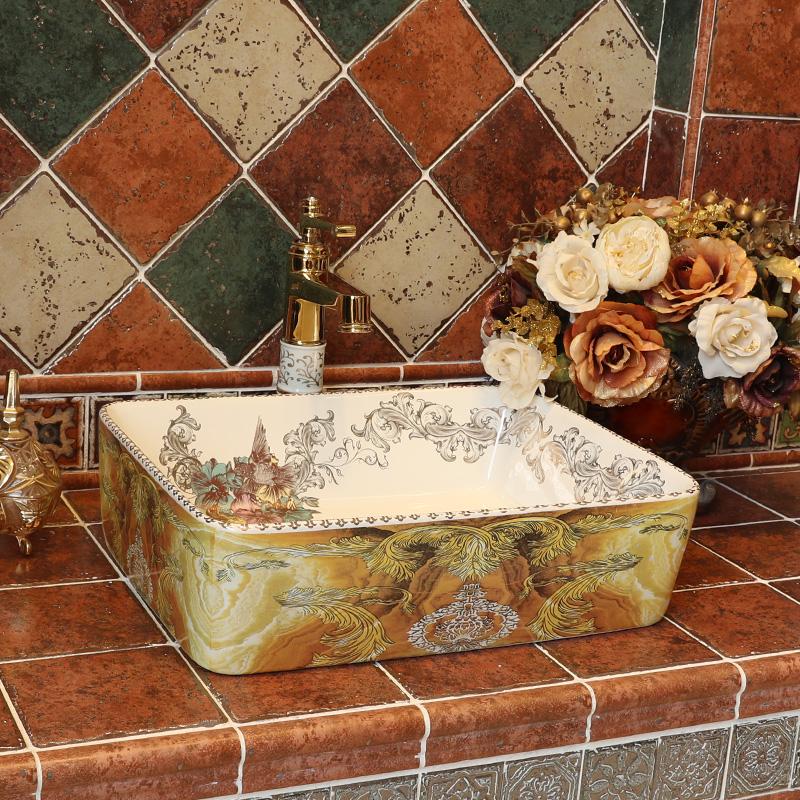[해외]욕실 세라믹 카운터 탑 싱크 씻어 분지 유럽 미술 분지 lavabo 욕실 수조 분지 욕실 싱크 직사각형/Bathroom ceramic counter top sink wash basin europe art basin lavabo bathroom countertop