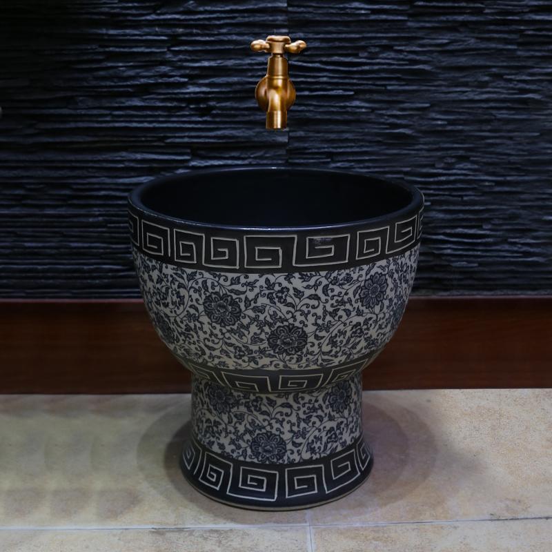[해외]파란색과 흰색 도자기 미술 걸레 풀  도자기 세탁 걸레 분지 욕실 걸레 풀 발코니 걸레 풀/Blue And White Porcelain Art Mop Pool Chinese Ceramics Wash Mop Basin Bathroom Mop Pool Balcony