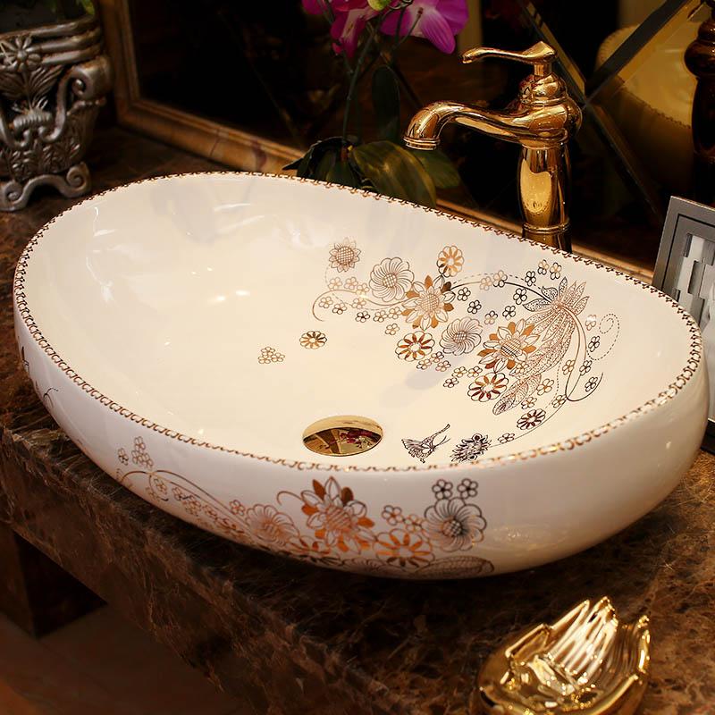[해외]타원형 욕실 Lavabo 세라믹 카운터 탑 씻으 분지 클린 룸 핸드 페인트 욕실 싱크 욕실 싱크대 카운터 씻어 분지/Oval bathroom Lavabo Ceramic Counter Top Wash Basin Cloakroom Hand Painted Vessel